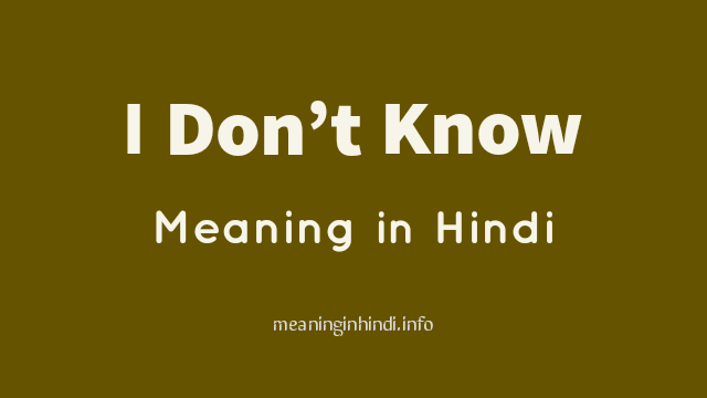 I Don't Know Meaning in Hindi