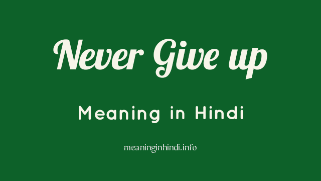 Never Give up Meaning in Hindi